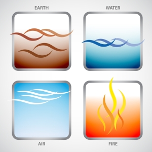 The four elements: earth, water, air and fire